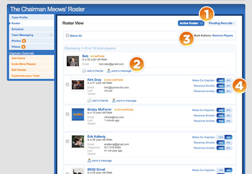 Manage your team roster on Sportsvite